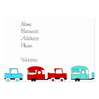 Retro Camping Trailer Turquoise Red Vintage Cars Business Card Template
