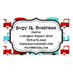 Retro Camping Trailer Turquoise Red Vintage Cars Double-Sided Standard Business Cards (Pack Of 100)