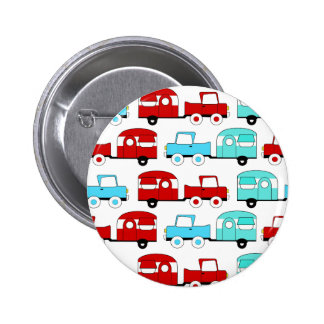 Retro Camping Trailer Turquoise Red Vintage Cars Buttons