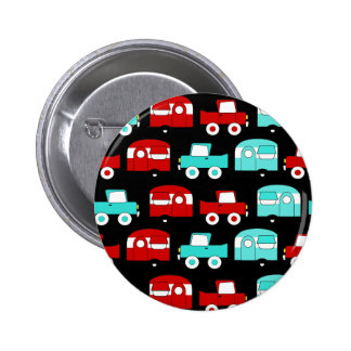 Retro Camping Trailer Turquoise Red Vintage Cars Button