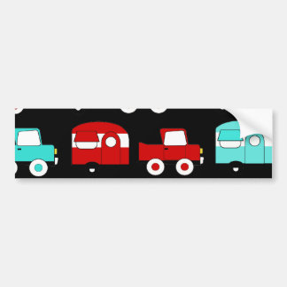 Retro Camping Trailer Turquoise Red Vintage Cars Car Bumper Sticker