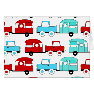 Retro Camping Trailer Turquoise Red Vintage Cars Card