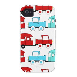 Retro Camping Trailer Turquoise Red Vintage Cars iPhone 4 Cover