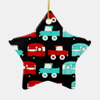 Retro Camping Trailer Turquoise Red Vintage Cars Ceramic Ornament