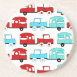 Retro Camping Trailer Turquoise Red Vintage Cars Beverage Coaster