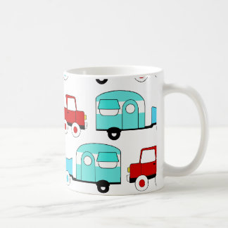 Retro Camping Trailer Turquoise Red Vintage Cars Coffee Mug