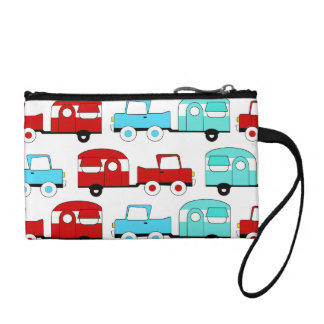 Retro Camping Trailer Turquoise Red Vintage Cars Coin Purse