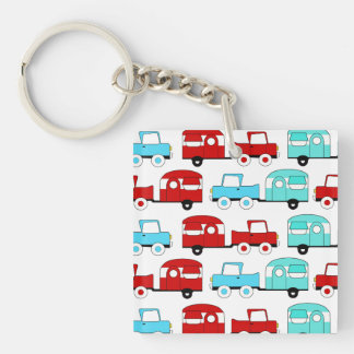 Retro Camping Trailer Turquoise Red Vintage Cars Double-Sided Square Acrylic Keychain