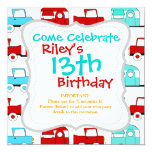 Retro Camping Trailer Turquoise Red Vintage Cars 5.25x5.25 Square Paper Invitation Card