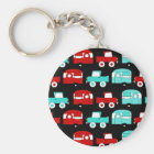 Retro Camping Trailer Turquoise Red Vintage Cars Keychain