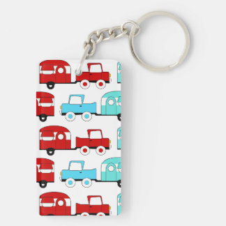 Retro Camping Trailer Turquoise Red Vintage Cars Acrylic Keychain