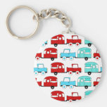 Retro Camping Trailer Turquoise Red Vintage Cars Key Chains