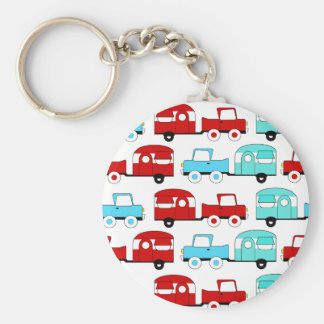 Retro Camping Trailer Turquoise Red Vintage Cars Basic Round Button Keychain