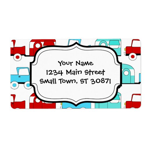 Retro Camping Trailer Turquoise Red Vintage Cars Shipping Label