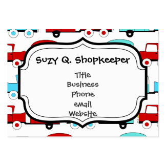 Retro Camping Trailer Turquoise Red Vintage Cars Large Business Card
