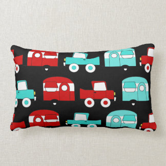 Retro Camping Trailer Turquoise Red Vintage Cars Lumbar Pillow