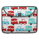 Retro Camping Trailer Turquoise Red Vintage Cars Sleeves For MacBooks