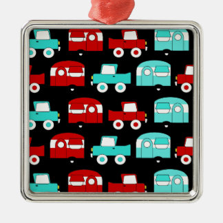 Retro Camping Trailer Turquoise Red Vintage Cars Metal Ornament