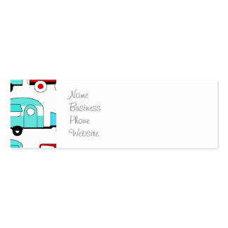 Retro Camping Trailer Turquoise Red Vintage Cars Mini Business Card
