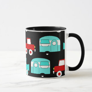 Retro Camping Trailer Turquoise Red Vintage Cars Mug