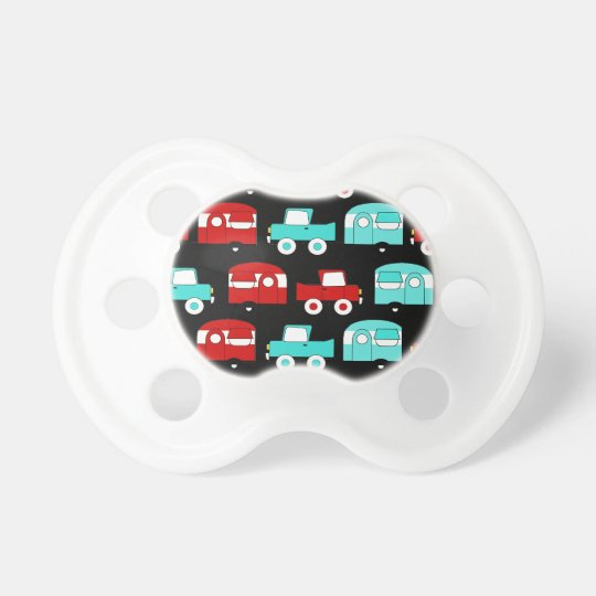 Retro Camping Trailer Turquoise Red Vintage Cars Pacifier