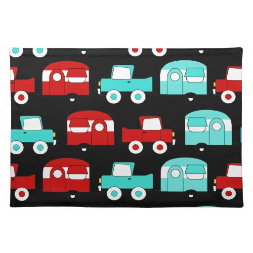 Retro Camping Trailer Turquoise Red Vintage Cars Placemats