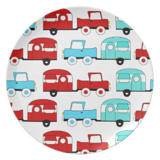 Retro Camping Trailer Turquoise Red Vintage Cars Plate