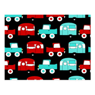 Retro Camping Trailer Turquoise Red Vintage Cars Postcard