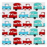 Retro Camping Trailer Turquoise Red Vintage Cars Posters
