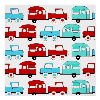 Retro Camping Trailer Turquoise Red Vintage Cars Poster