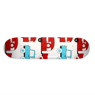 Retro Camping Trailer Turquoise Red Vintage Cars Skate Board Decks