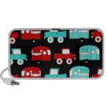 Retro Camping Trailer Turquoise Red Vintage Cars Laptop Speaker