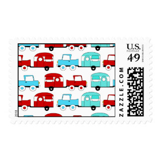 Retro Camping Trailer Turquoise Red Vintage Cars Stamp