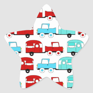 Retro Camping Trailer Turquoise Red Vintage Cars Star Sticker