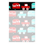 Retro Camping Trailer Turquoise Red Vintage Cars Stationery Paper