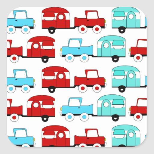 Retro Camping Trailer Turquoise Red Vintage Cars Stickers