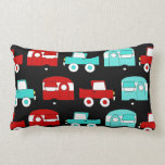 Retro Camping Trailer Turquoise Red Vintage Cars Throw Pillow