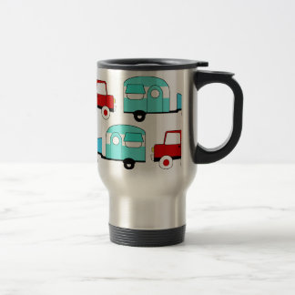 Retro Camping Trailer Turquoise Red Vintage Cars Travel Mug