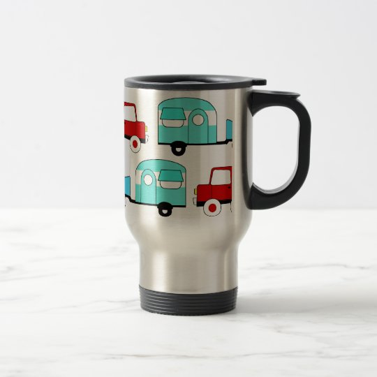 Retro Camping Trailer Turquoise Red Vintage Cars Travel Mug