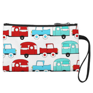Retro Camping Trailer Turquoise Red Vintage Cars Wristlet Wallet