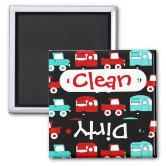 Retro Camping Trailer Turquoise Red Vintage RV 2 Inch Square Magnet