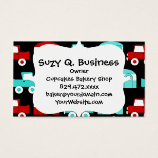 Retro Camping Trailer Turquoise Red Vintage RV Business Card