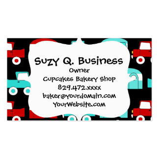 Retro Camping Trailer Turquoise Red Vintage RV Business Cards