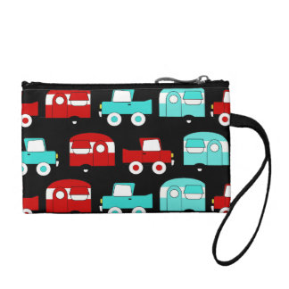 Retro Camping Trailer Turquoise Red Vintage RV Coin Purse