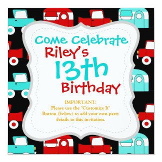 Retro Camping Trailer Turquoise Red Vintage RV Invitations