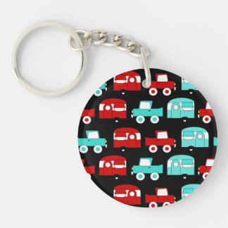Retro Camping Trailer Turquoise Red Vintage RV Acrylic Keychains