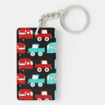 Retro Camping Trailer Turquoise Red Vintage RV Double-Sided Rectangular Acrylic Keychain