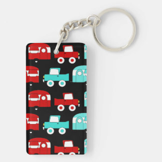 Retro Camping Trailer Turquoise Red Vintage RV Keychain