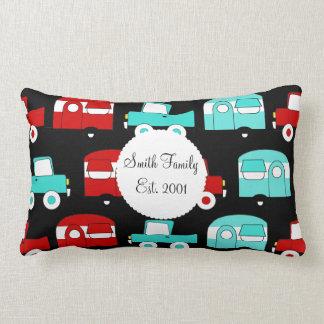 Retro Camping Trailer Turquoise Red Vintage RV Lumbar Pillow