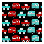 Retro Camping Trailer Turquoise Red Vintage RV Print